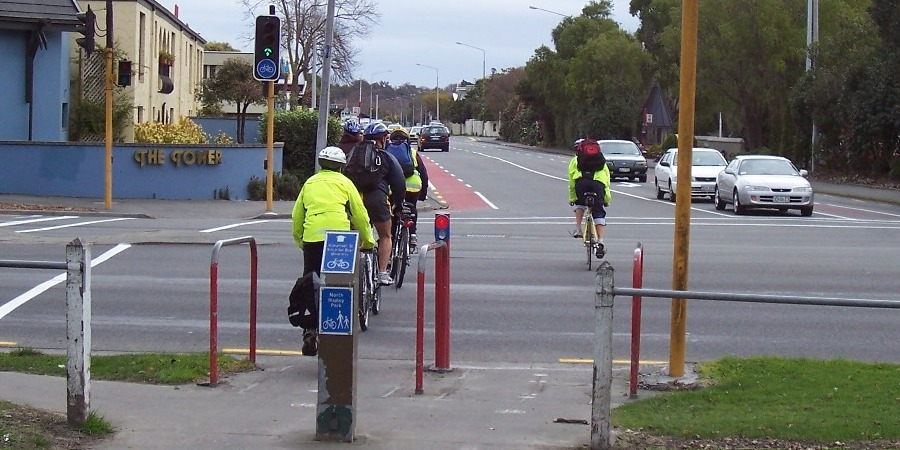 Cyclists leaving Hagley Park for Kilmarnock St