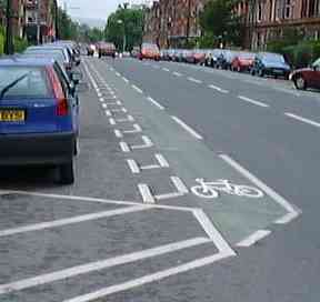 Safe on road cycle lane