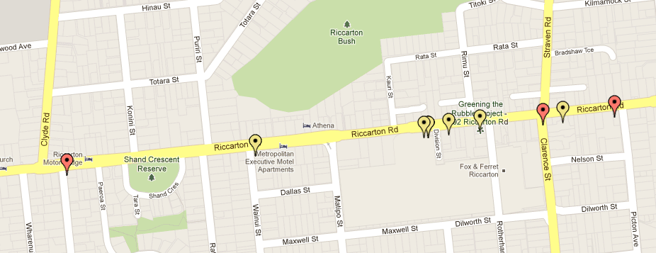 Riccarton Rd dooring hotspot (red=serious injury, yellow=minor)