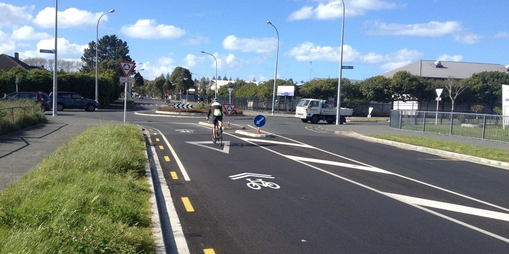 Sharrows can be useful on approaching small roundabouts (c/ Akld Transport)