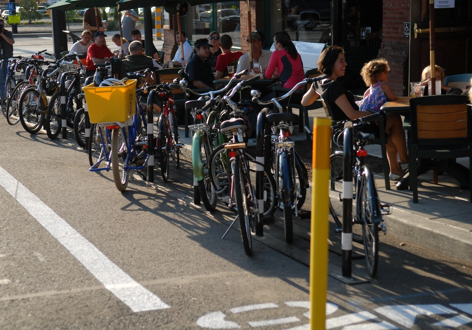 "A ""Bike Corral"" from Portland, Oregon - a much more efficient form of customer parking (c/ Bike Portland)"