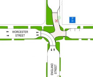 The revised Worcester-England intersection now lets traffic right through