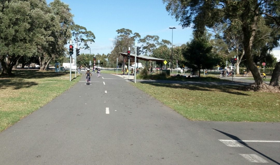 Kids enjoying Adelaide's realistic cycle training park