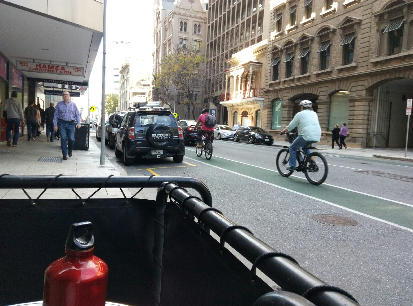 Bike lanes in downtown Adelaide