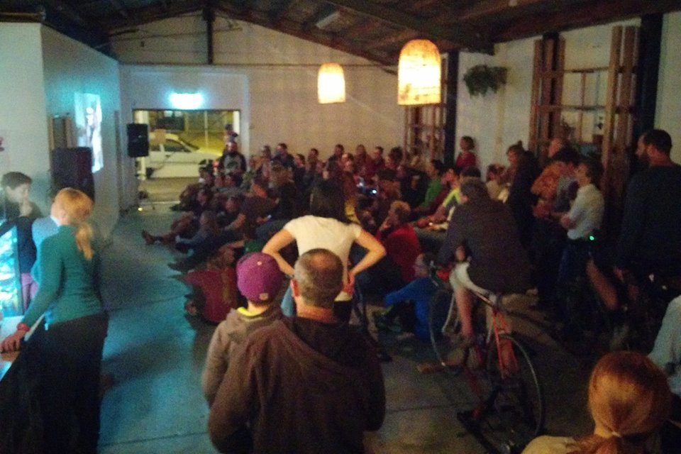 A full house for the last cycle-powered cinema in April