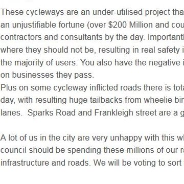 Do cycleways = extravagance?