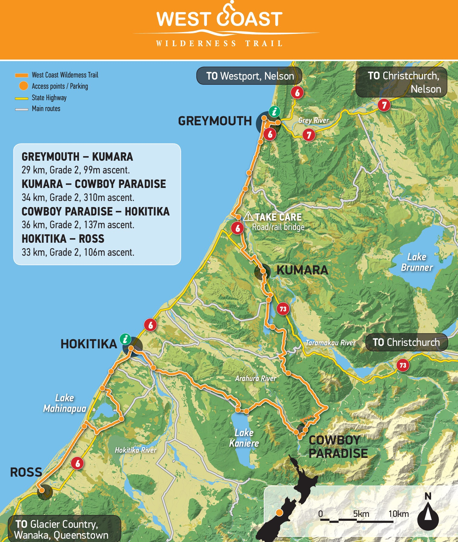 Hokitika New Zealand Map.West Coast Wilderness Trail A Great Tour Cycling In Christchurch